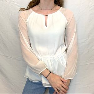 White House Black Market flowy white blouse
